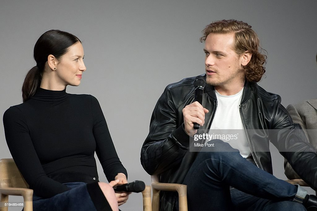 Actors Caitriona Balfe and Sam Heughan attend Apple Store Soho Presents Meet the Cast: 'Outlander' at Apple Store Soho on April 6, 2016 in New York City.