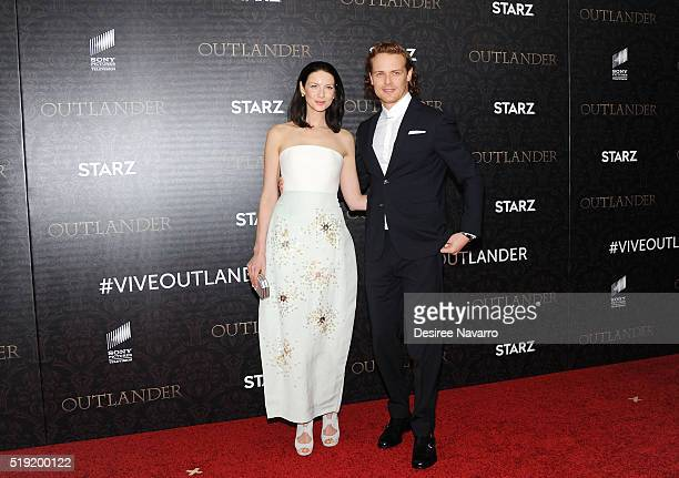 Actors Caitriona Balfe and Sam Heughan attend 'Outlander' Season Two World Premiere at American Museum of Natural History on April 4 2016 in New York...