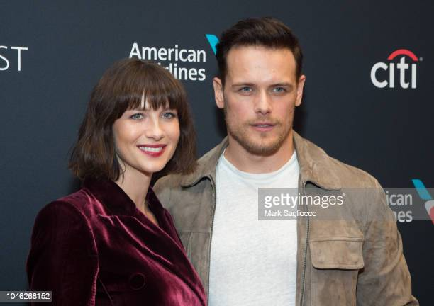 """Actors Caitriona Balfe and Sam Heughan attend the """"Outlander"""" 2018 Paleyfest NY at The Paley Center for Media on October 5, 2018 in New York City."""