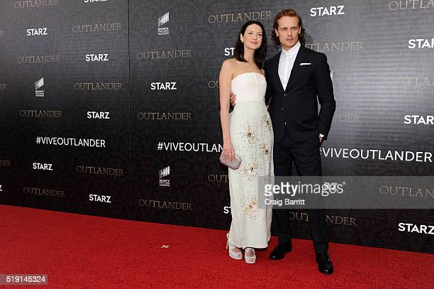 Actors Caitriona Balfe and Sam Heughan attend the 'Outlander' Season 2 Premiere on April 4 2016 in New York City