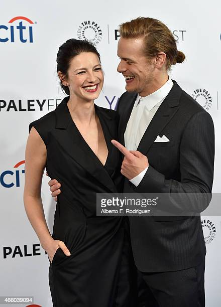 """Actors Caitriona Balfe and Sam Heughan attend The Paley Center for Media's 32nd Annual PALEYFEST LA """"Outlander"""" at Dolby Theatre on March 12, 2015 in..."""