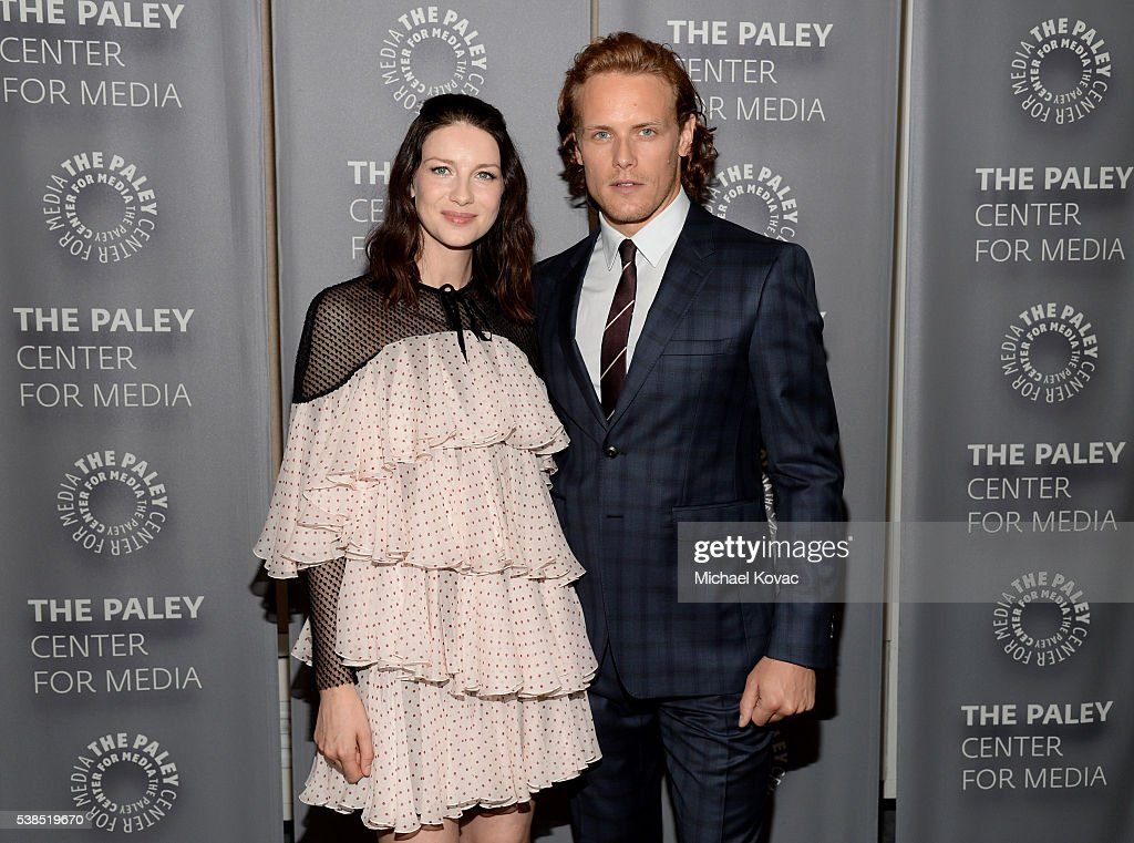 Actors Caitriona Balfe (L) and Sam Heughan attend The Paley Center for Media presents The Artistry of 'Outlander' at The Paley Center for Media on June 6, 2016 in Beverly Hills, California.