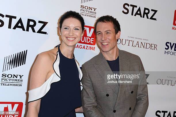 Actors Caitriona Balfe and Tobias Menzies arrive at TV Guide Magazine celebrates STARZ's Outlander at Palihouse on March 30 2016 in West Hollywood...