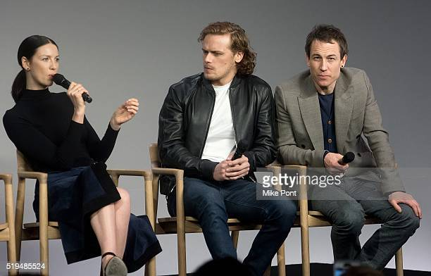 """Actors Caitriona Balfe, Sam Heughan, and Tobias Menzies attend Apple Store Soho Presents Meet the Cast: """"Outlander"""" at Apple Store Soho on April 6,..."""