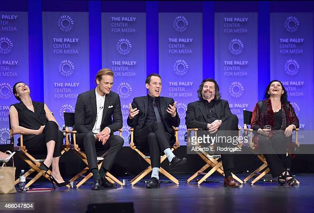 Actors Caitriona Balfe Sam Heughan Tobias Menzies executive producer Ronald D Moore and author Diana Gabaldon attend The Paley Center for Media's...