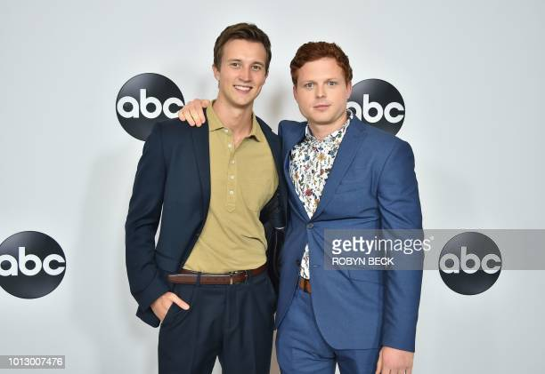 Actors Caleb Foote and Sam Straley attend the Disney ABC Television TCA Summer Press Tour August 7 2018 at the Beverly Hilton Hotel in Beverly Hills...