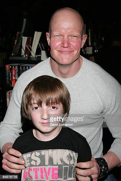 Actors Caleb Guss and Derek Mears attend Anchor Bay Entertainment's Jason Voorhees reunion at Dark Delicacies Bookstore on February 3 2009 in Burbank...