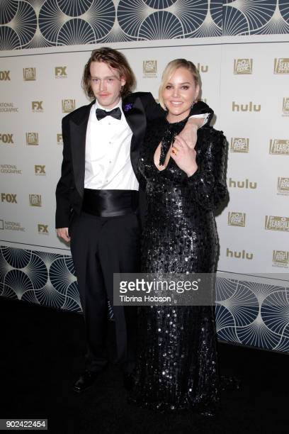 Actors Caleb Landry Jones and Abbie Cornish attend FOX FX and Hulu 2018 Golden Globe Awards After Party at The Beverly Hilton Hotel on January 7 2018...