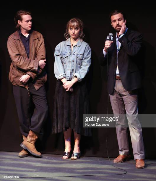 Actors Caleb Landry Jones Imogen Poots and director AJ Edwards speak onstage at the premiere of 'Friday's Child ' during SXSW at Vimeo on March 11...