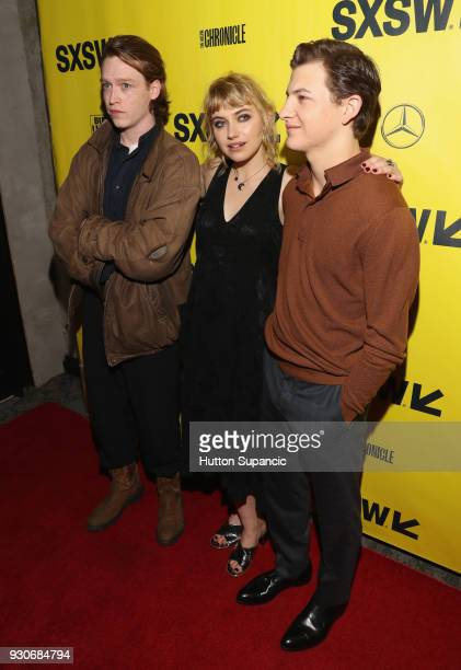 Actors Caleb Landry Jones Imogen Poots and Tye Sheridan attend the premiere of 'Friday's Child ' during SXSW at Vimeo on March 11 2018 in Austin Texas