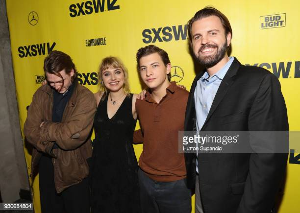 Actors Caleb Landry Jones Imogen Poots Tye Sheridan and director AJ Edwards attend the premiere of 'Friday's Child ' during SXSW at Vimeo on March 11...
