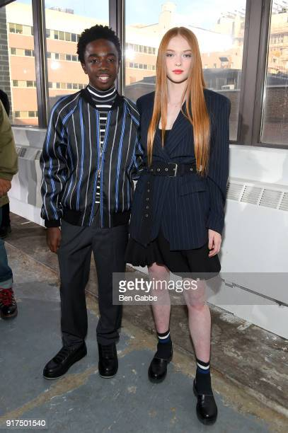 Actors Caleb McLaughlin and Larsen Thompson attend the 31 Phillip Lim fashion show during New York Fashion Week The Shows at Skylight Clarkson North...