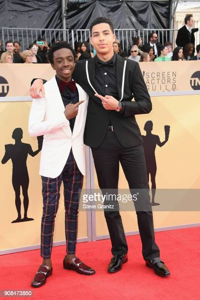 Actors Caleb McLaughlin and Marcus Scribner attend the 24th Annual Screen ActorsGuild Awards at The Shrine Auditorium on January 21 2018 in Los...