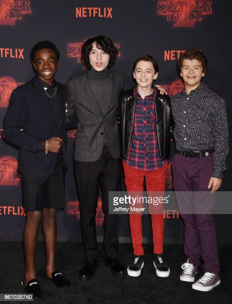 Actors Caleb McLaughlin Finn Wolfhard Noah Schnapp and Gaten Matarazzo arrive at the Premiere Of Netflix's 'Stranger Things' Season 2 at Regency...