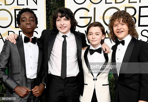 Actors Caleb McLaughlin Finn Wolfhard Noah Schnapp and Gaten Matarazzo attend the 74th Annual Golden Globe Awards at The Beverly Hilton Hotel on...