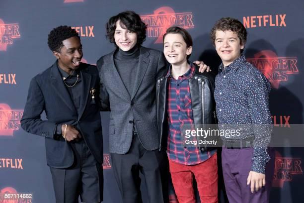 "Actors Caleb McLaughlin, Finn Wolfhard, Noah Schnapp, and Gaten Matarazzo attend the Premiere Of Netflix's ""Stranger Things"" Season 2 at the Regency..."