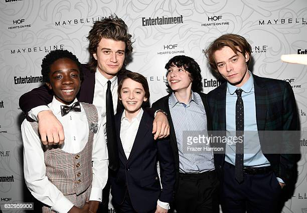 Actors Caleb McLaughlin Joe Keery Noah Schnapp Finn Wolfhard and Charlie Heaton attend the Entertainment Weekly Celebration of SAG Award Nominees...