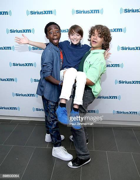 Actors Caleb McLaughlin Noah Schnapp and Gaten Matarazzo visit SiriusXM at SiriusXM Studio on September 1 2016 in New York City