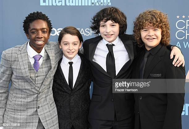 Actors Caleb McLaughlin Noah Schnapp Finn Wolfhard and Gaten Matarazzo attend The 22nd Annual Critics' Choice Awards at Barker Hangar on December 11...
