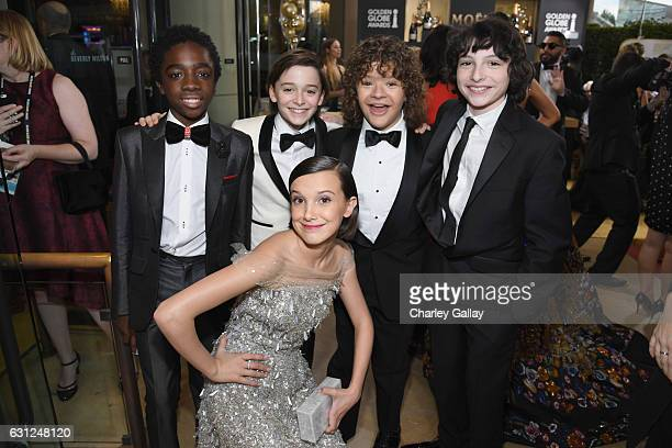 Actors Caleb McLaughlin Noah Schnapp Gaten Matarazzo Finn Wolfhard and Millie Bobby Brown at the 74th annual Golden Globe Awards sponsored by FIJI...