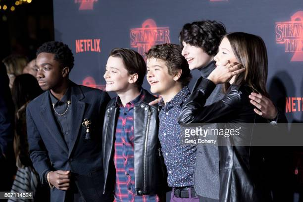 Actors Caleb McLaughlin Noah Schnapp Gaten Matarazzo Finn Wolfhard and Millie Bobby Brown attend the Premiere Of Netflix's 'Stranger Things' Season 2...