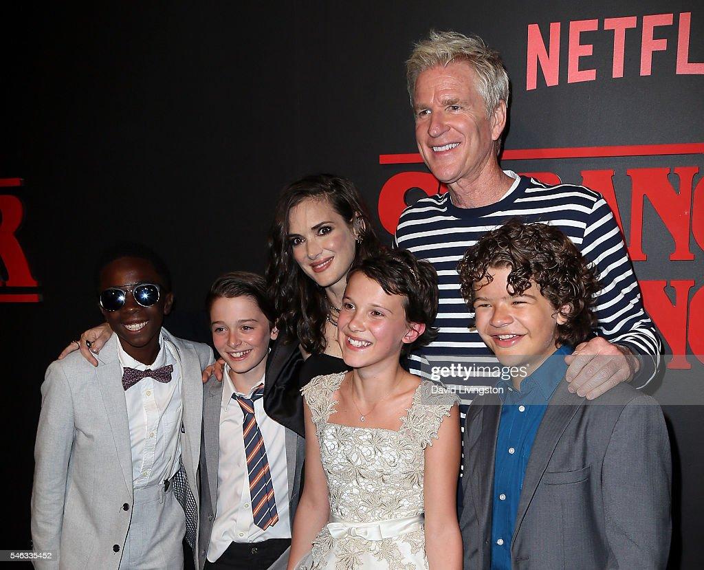 Actors Caleb McLaughlin, Noah Schnapp, Winona Ryder, Millie Bobby Brown, Matthew Modine and Gaten Matarazzo attend the premiere of Netflix's 'Stranger Things' at Mack Sennett Studios on July 11, 2016 in Los Angeles, California.