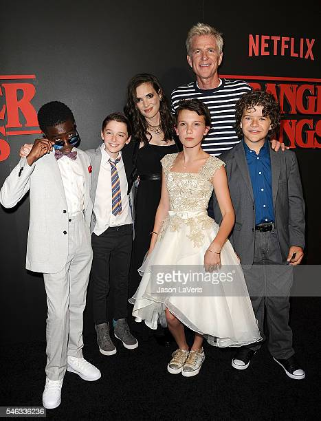 Actors Caleb McLaughlin Noah Schnapp Winona Ryder Millie Bobby Brown Matthew Modine and Gaten Matarazzo attend the premiere of Stranger Things at...