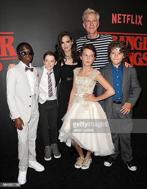 Actors Caleb McLaughlin Noah Schnapp Winona Ryder Millie Bobby Brown Matthew Modine and Gaten Matarazzo attend the premiere of 'Stranger Things' at...
