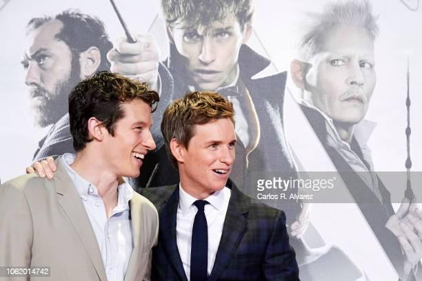 Actors Callum Turner and Eddie Redmayne attend 'Animales Fantasticos Los Crimenes De Grindelwald' premiere at the Kinepolis cinema on November 15...