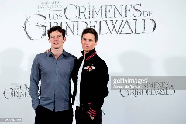 Actors Callum Turner and Eddie Redmayne attend 'Animales Fantasticos Los Crimenes De Grindelwald' photocall at the Villamagna Hotel on November 16...