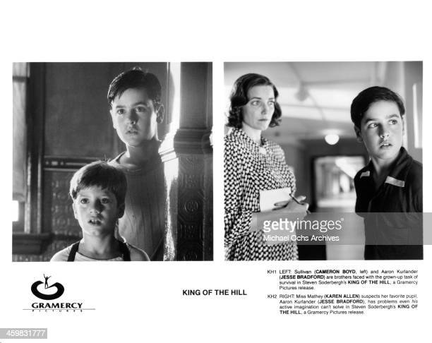 Actors Cameron Boyd and Jesse Bradford on set actress Karen Allen and Jesse Bradford on set of the movie King of the Hill circa 1993