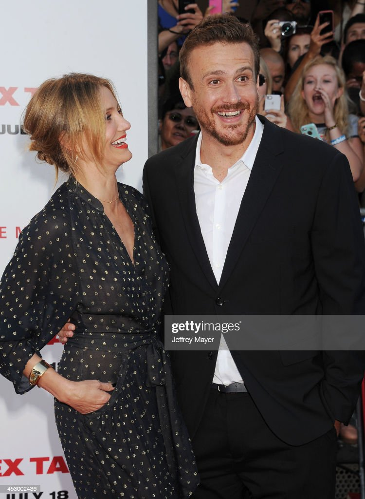 Actors Cameron Diaz and Jason Segel arrive at the 'Sex Tape' Los Angeles Premiere at Regency Village Theatre on July 10, 2014 in Westwood, California.