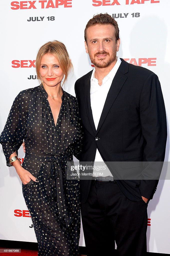 Actors Cameron Diaz (L) and Jason Segel attend premiere of Columbia Pictures' 'Sex Tape' at Regency Village Theatre on July 10, 2014 in Westwood, California.