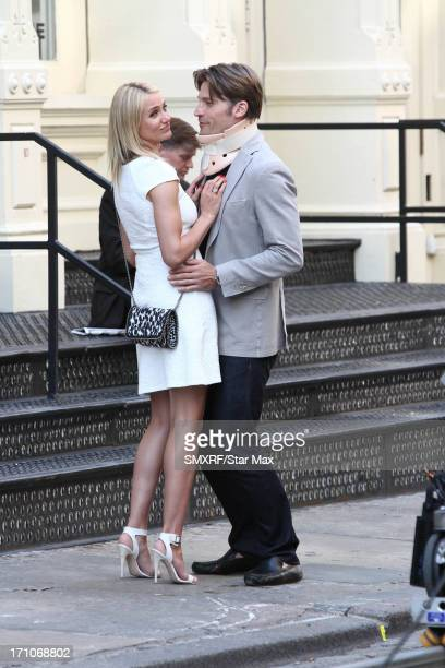 Actors Cameron Diaz and Nikolaj CosterWaldau on the set of 'The Other Woman' on June 21 2013 in New York City New York