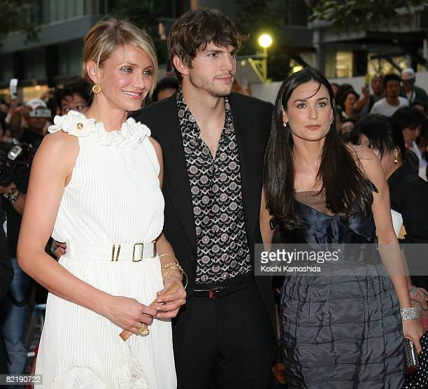 Actors Cameron Diaz Ashton Kutcher and Demi Moore attend What Happens In Vegas Japan Premiere at Marunouchi My Plaza on August 6 2008 in Tokyo Japan...