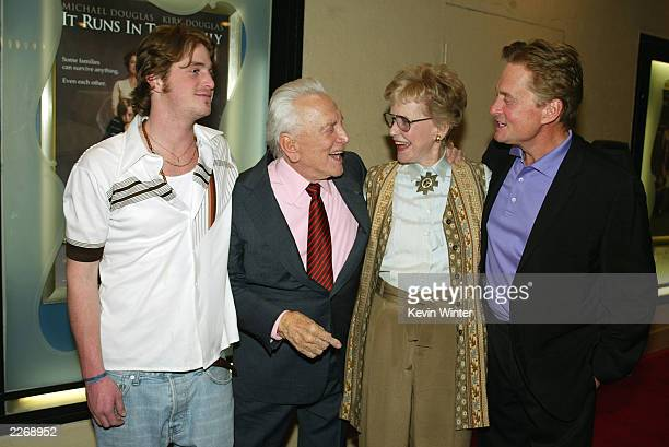 """Actors Cameron Douglas, Kirk Douglas, Diana Douglas and Michael Douglas pose at the premiere of """"It Runs In The Family"""" at the Bruin Theater on April..."""