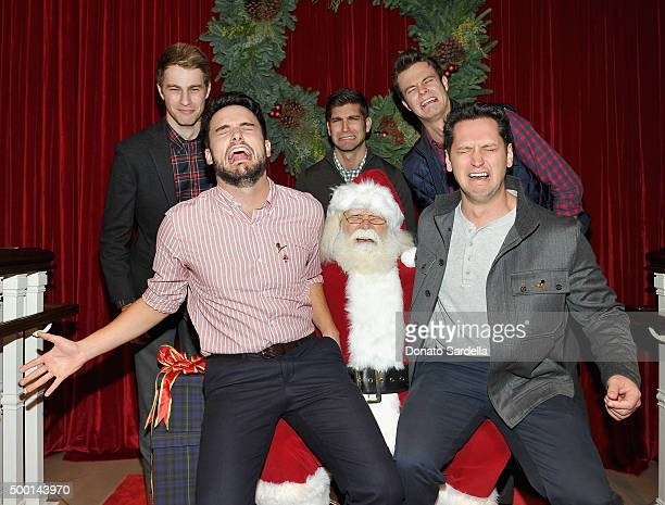 Actors Cameron Fuller David Bernon and Jack Quaid Actors Jack Falahee and Matt McGorry pose with Santa Claus at the Brooks Brothers holiday party...