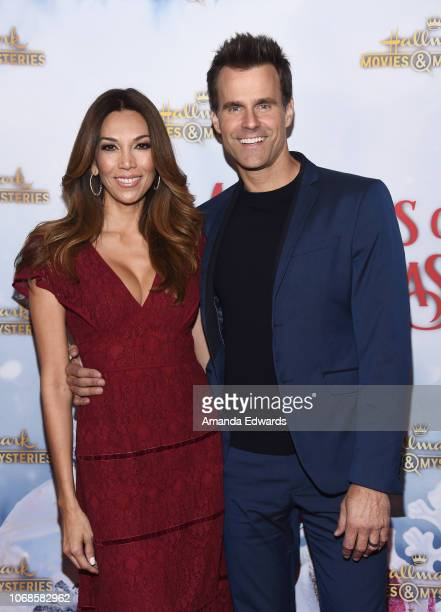 Actors Cameron Mathison and Vanessa Arevalo arrive at the Hallmark Channel Once Upon A Christmas Miracle screening and holiday party at 189 by...