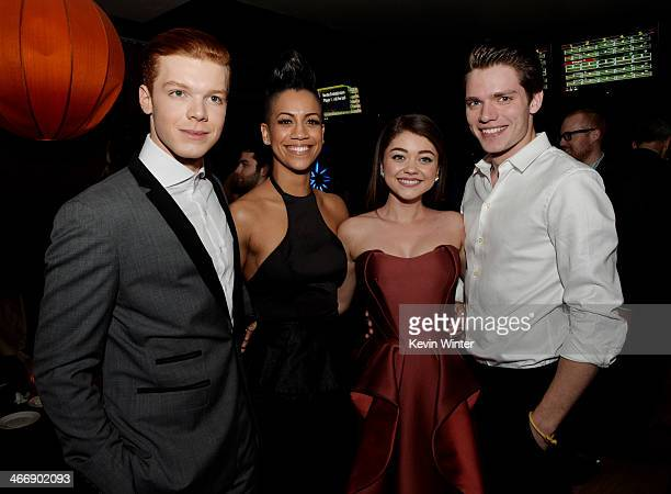 Actors Cameron Monaghan Dominique Tipper Sarah Hyland and Dominic Sherwood pose at the after party for the premiere of The Weinstein Company's...