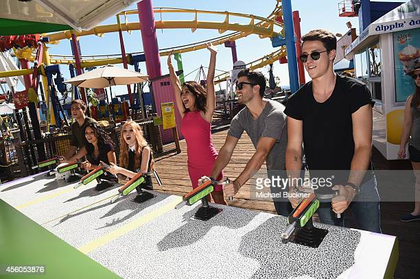Actors Cameron Moulène Bianca A Santos Katherine McNamara Ryan Rottman and Shane Harper attend the event for MTV's Happyland at Pacific Park on the...