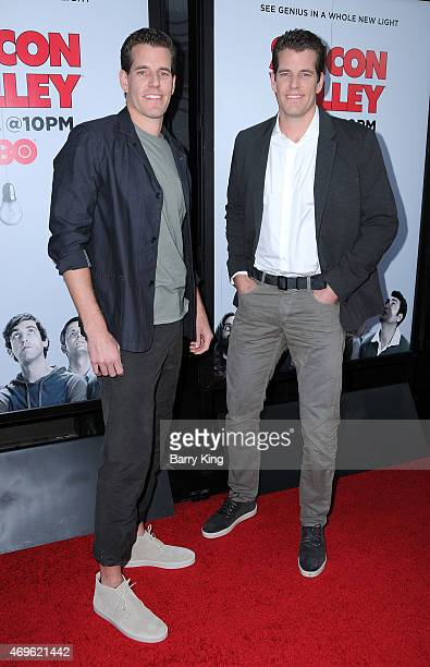 Actors Cameron Winklevoss and Tyler Winklevoss attend the HBO 'Silicon Valley' season 2 premiere at the El Capitan Theatre on April 2 2015 in...