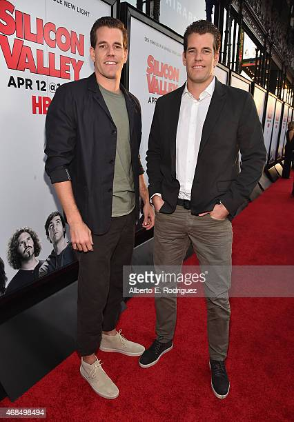"""Actors Cameron Winklevoss and Tyler Winklevoss attend the premiere of HBO's """"Silicon Valley"""" 2nd Season at the El Capitan Theatre on April 2, 2015 in..."""