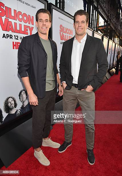 Actors Cameron Winklevoss and Tyler Winklevoss attend the premiere of HBO's Silicon Valley 2nd Season at the El Capitan Theatre on April 2 2015 in...