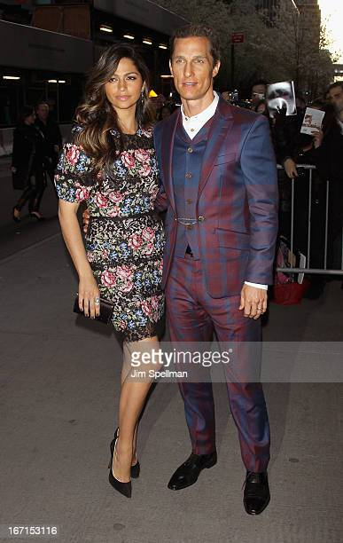 """Actors Camila Alves and Matthew McConaughey attend the Cinema Society with FIJI Water & Levi's screening of """"Mud"""" at The Museum of Modern Art on..."""