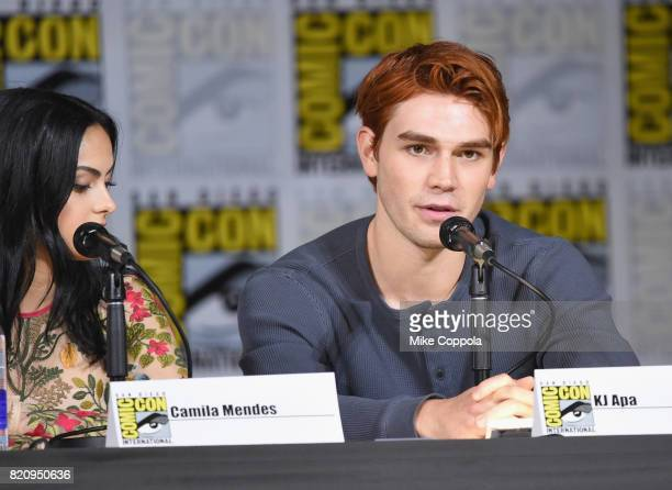 Actors Camila Mendes and KJ Apa speak onstage at 'Riverdale' special video presentation and QA during ComicCon International 2017 at San Diego...