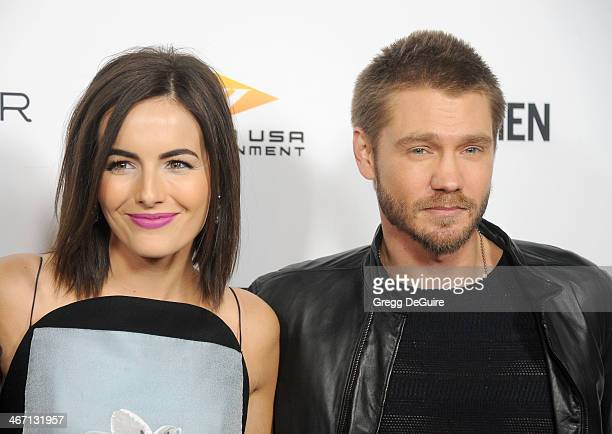 Actors Camilla Belle and Chad Michael Murray arrive at the Los Angeles premiere of 'Cavemen' at ArcLight Hollywood on February 5 2014 in Hollywood...