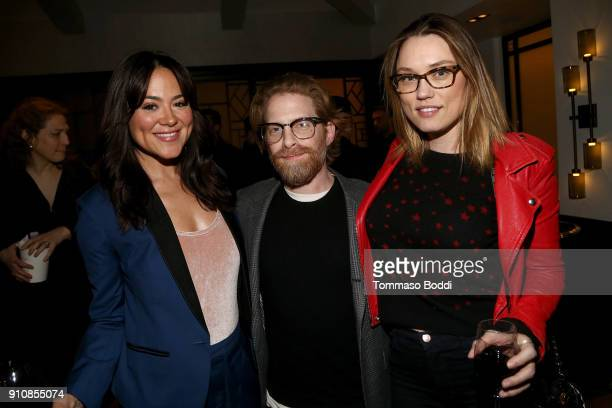 Actors Camille Guaty Seth Green and Clare Grant attend the cast and crew screening of 'A Futile And Stupid Gesture' hosted by EW and Netflix at The...