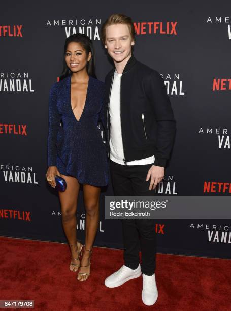 Actors Camille Hyde and Calum Worthy attend the premiere of Netflix's American Vandal at ArcLight Hollywood on September 14 2017 in Hollywood...