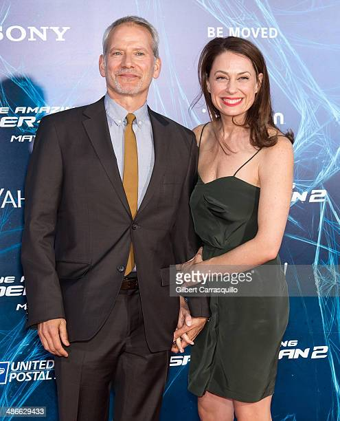 Actors Campbell Scott and wife Kathleen McElfresh attend The Amazing SpiderMan 2 premiere at the Ziegfeld Theater on April 24 2014 in New York City