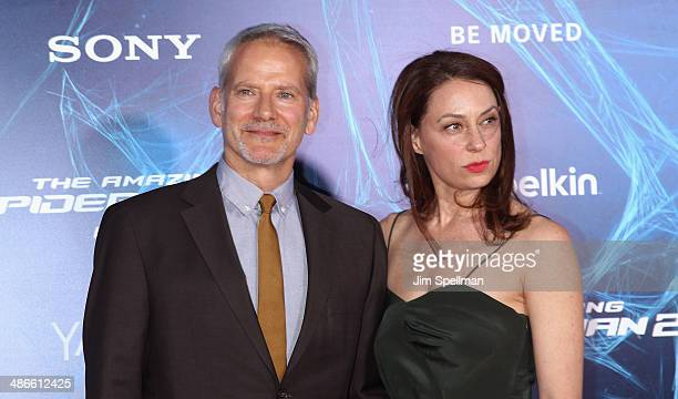 Actors Campbell Scott and wife Kathleen McElfresh attend the The Amazing SpiderMan 2 New York Premiere on April 24 2014 in New York City